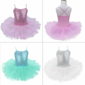 UK-Girls-Sequin-Ballet-Leotard-Dress-Kids-Tutu-Skirt-Ballerina-Dancewear-Costume