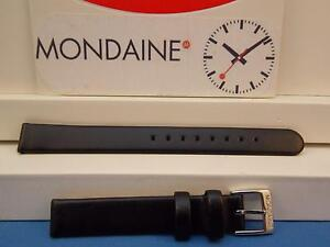 Mondaine Swiss Railways Watch Band Fe3112 Wristwatch Bands Watches, Parts & Accessories 12mm Wide Black Leather Strap Ladies Can Be Repeatedly Remolded.