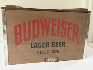 Budweiser Lager Beer Since 1876 Wooden Metal Beer Cooler 18x14x12