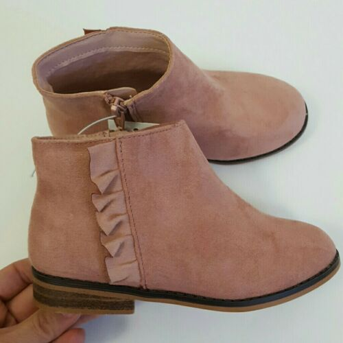 13 8 11 NEW ~ Cat /& Jack Toddlers Girls Pink Faux Suede Ruffle Ankle Boots 5