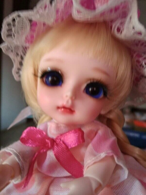 1/8 BJD Doll BJD/SD recast Cute Gelb Happy Doll With Eyes Girl dollfie FR anim