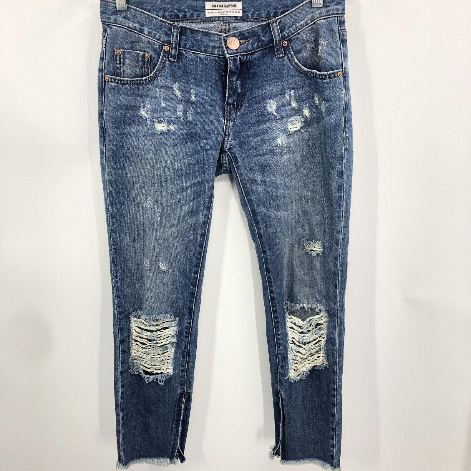 One Teaspoon Pacifica Freebird  Distress Jeans Women 26