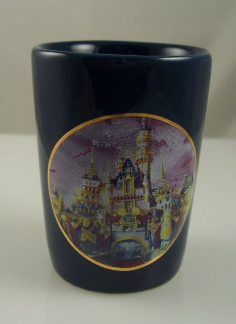 shot glass 50th anniversary Disney Disneyland castle 50 year gold ears