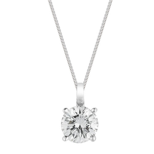 Four Prong Diamond Solitaire Pendant made in 14K Gold free chain included