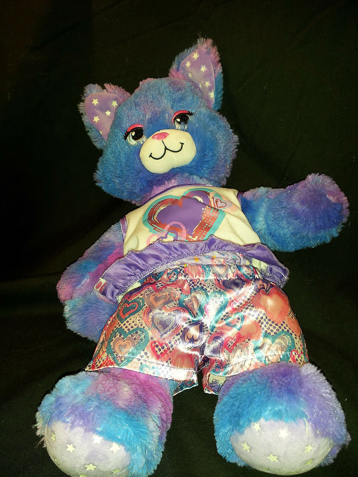 Stars A Glow Kitty Kitty Glow Cat Build a Bear Heart Clothes lila 18