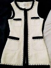 Donne Ragazze Bianco Nero Contrasto perla perline borchie senza maniche giacca Gilet