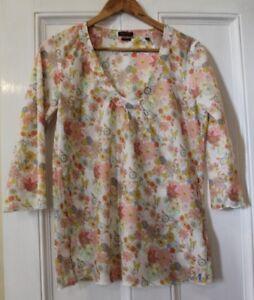 Marc-O-Polo-Floral-Fabric-Organic-Cotton-Top-Tunic-Size-EU-38-UK-10