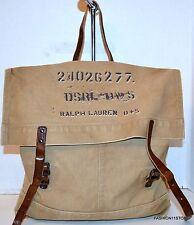 Ralph Lauren Denim & Supply Khaki Shoulder Bag w/Leather Straps Handbag Canvas