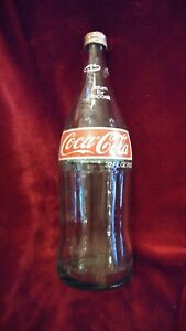 Vintage 32 oz. Glass Coca Cola Bottle With Cap!  Estate Find!