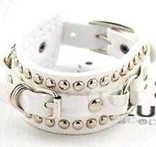 FD1938 Fashion Korea PU Leather Punk Rivet Cuff Wide Bracelet Bangle ~White~