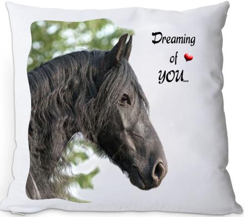 FRI 03 FRIESE Pferd Kissenhülle KISSENBEZUG seidig weich 35x35 cm Deko
