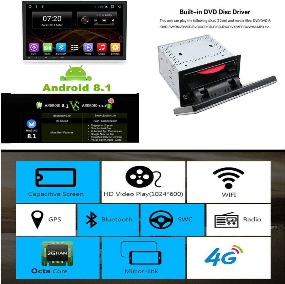 10 1'' 2din Car Stereo Radio GPS DVD WiFi 4g BT DAB Mirror Link OBD Android  8 1