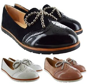 LADIES-WOMENS-FLAT-BOW-SLIP-ON-OFFICE-WORK-BROGUE-LOAFERS-VINTAGE-SHOES-SIZE-3-8