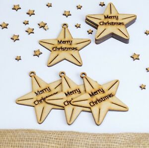 Wooden-Christmas-Stars-Family-Tree-Decor-Art-Blank-Bauble-Hanging-MDF-Star-Shape