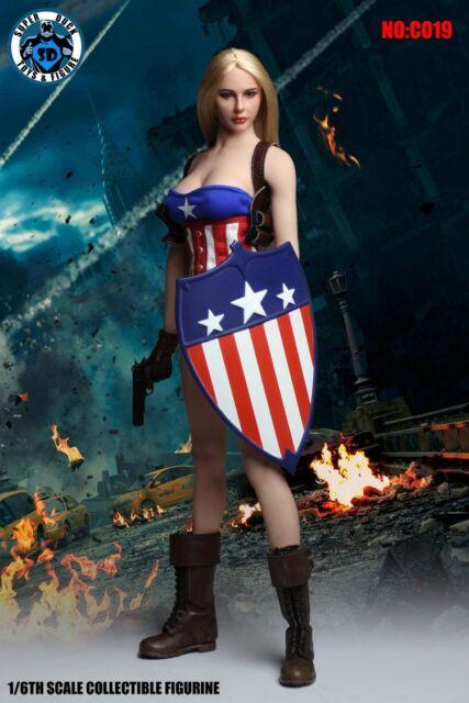 Super Duck 1/6 Scale C019 Sexy Clothes Accessories Captain America Girl