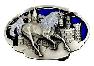 Unicorn   Castle Belt Buckle Fantasy Themed Animal Authentic Arroyo ... 603c0526e34