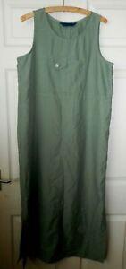 Khaki Green Denim Style Utility Pinafore Dungaree Dress Pocket L 14 Boho Blogger