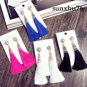 Women-Thread-Fringe-Drop-New-Arrival-Rhinestone-Long-Tassel-Dangle-Earrings-For