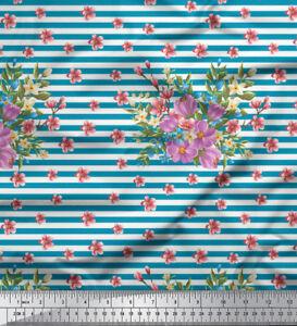 Soimoi-Stoff-Streifen-Blaetter-amp-Miosotis-Blumen-Stoff-Meterware-FL-1045E