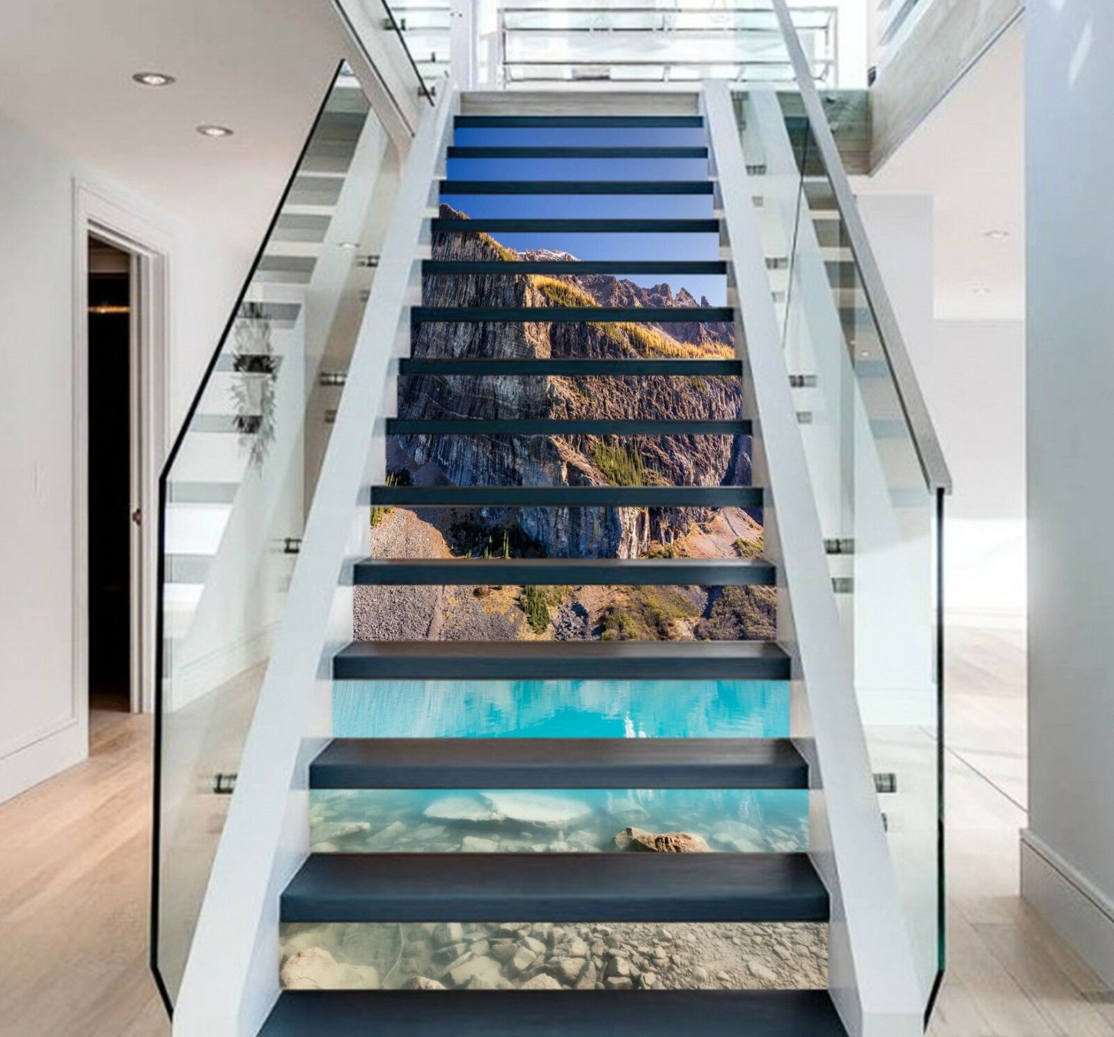 3D Lake Hills 9 Stair Risers Decoration Photo Mural Vinyl Decal WandPapier US