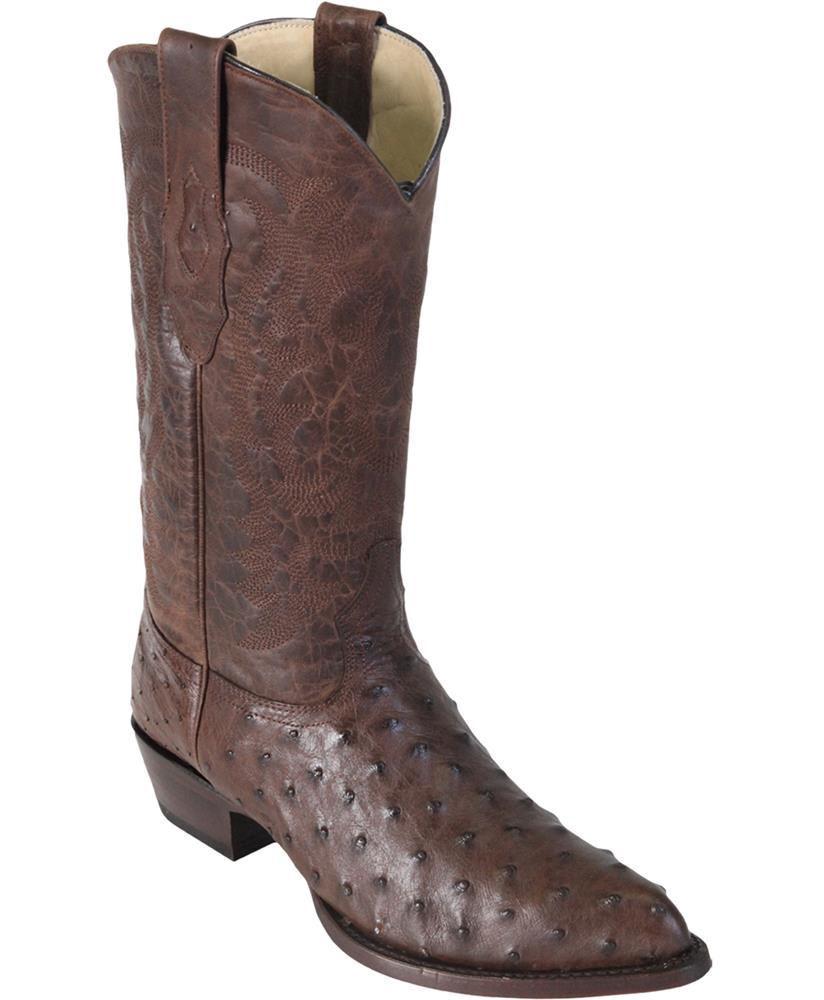 LOS ALTOS MEN BROWN GENUINE FULL QUILL OSTRICH WESTERN COWBOY BOOT J-TOE (EE+)