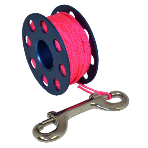 Scuba Choice Aluminum Finger Spool 75ft Dive Reel w//Bolt Snap-Blue//Pink
