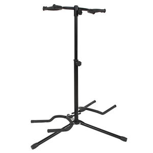 New-Musician-Dual-Double-Acoustic-Electric-Guitar-Bass-Stand-Bracket-Straight
