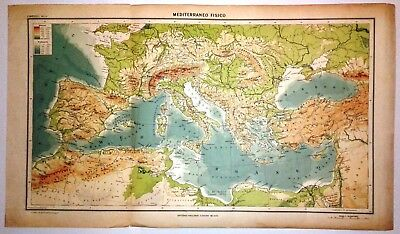 Cartina Fisica Mediterraneo.Carta Geografica Antica Bacino Del Mediterraneo 1939 Old Antique Map Ebay