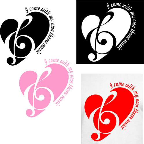 Red Pink White or Black Vinyl Car Window Cutout of  Music Heart with saying