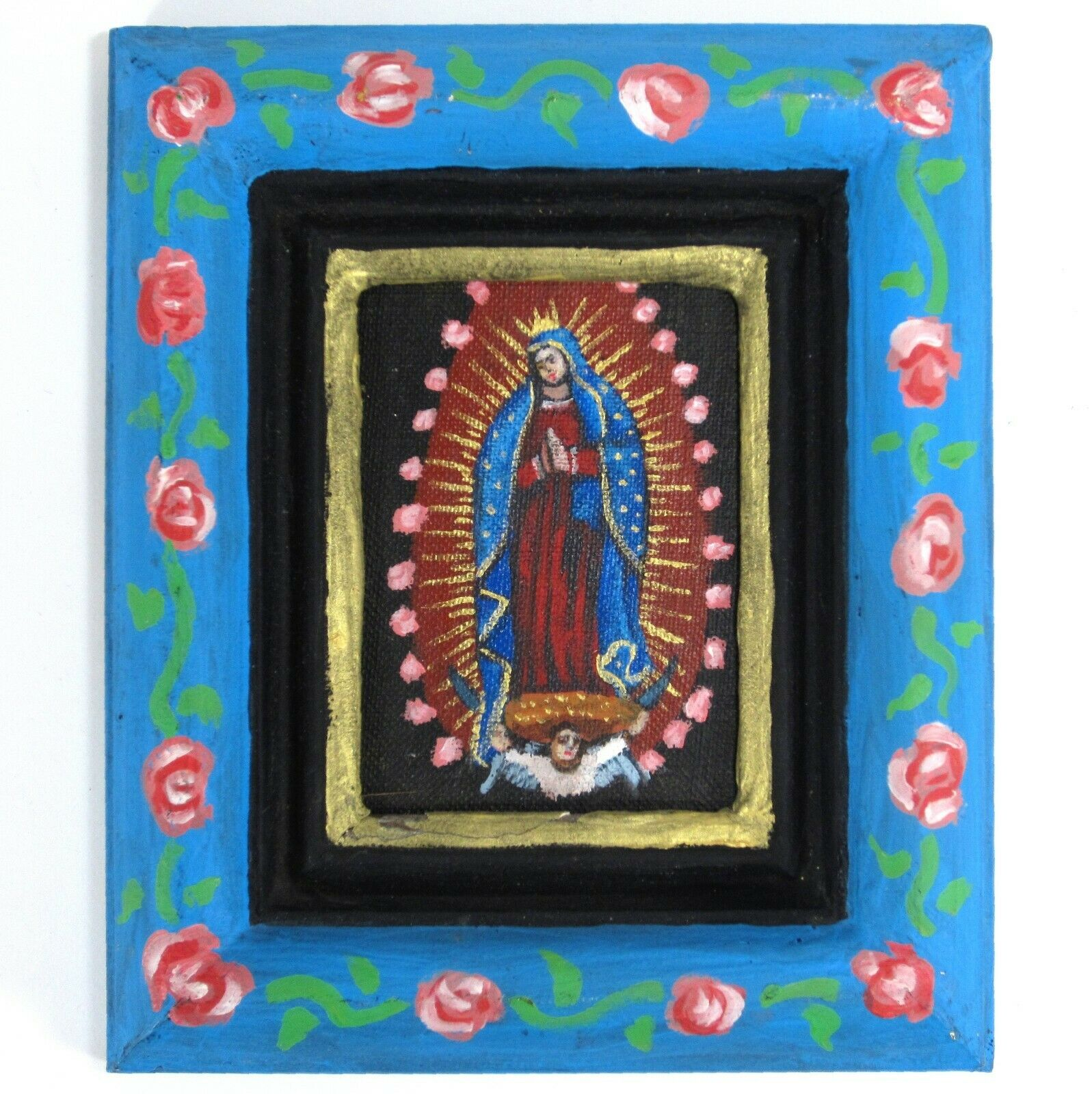 Miniature Virgin of Guadalupe Acrylic Painting in Hand-painted Frame Earl Staley 1