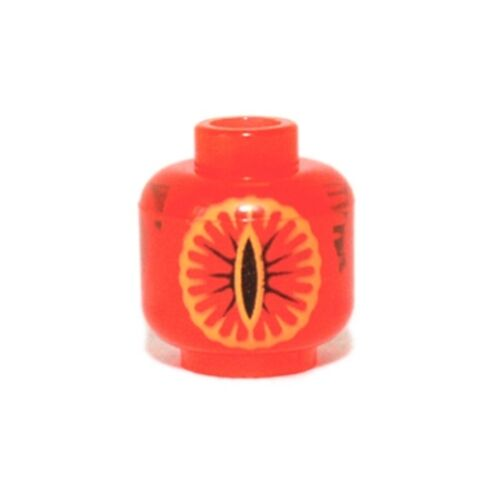 Trans-Neon Orange LEGO Head with Black Eye of Sauron Pattern Minifig