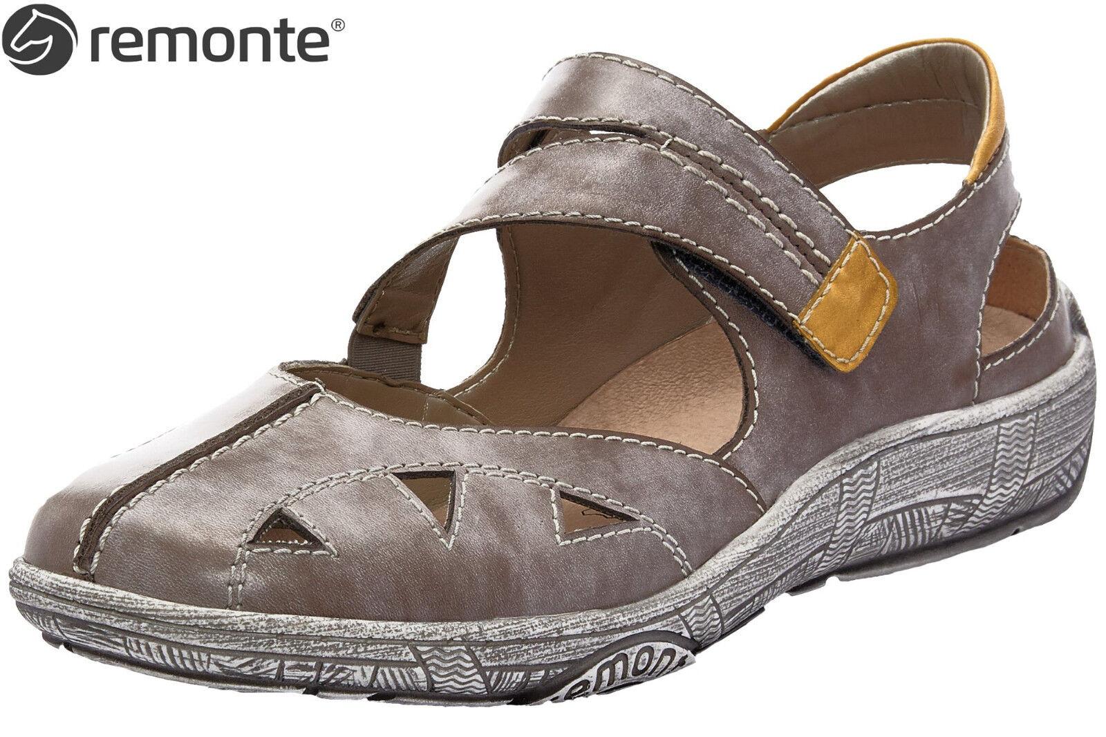 Remonte Damen Slipper D3814-45 Grau Leder Komfort Sandalee lose Einlage Schuhe