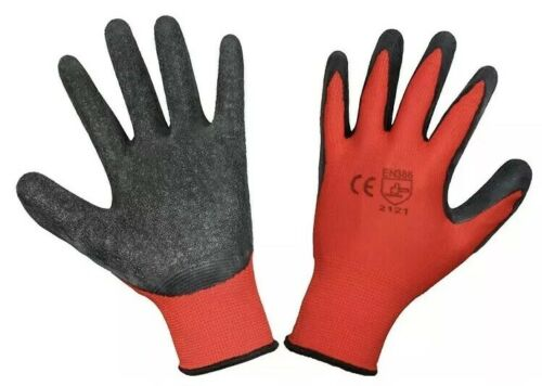 24 x Size 7//Small Red Black Latex Palm Dipped Protection Poly Grip Work Gloves