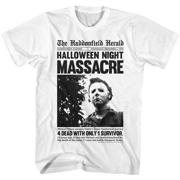 Pre-Sell Halloween Michael Myers Haddonfield Herald Horror Movie T-shirt HAL550
