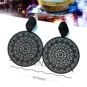 Big Round Black Statement Geometric Gothic Retro Dangle Long Drop Earrings *UK**