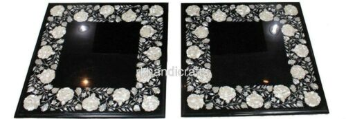 16 Inch Marble Coffee Table Top Inlay Side Table Shiny Gemstones Set of 2 Pieces