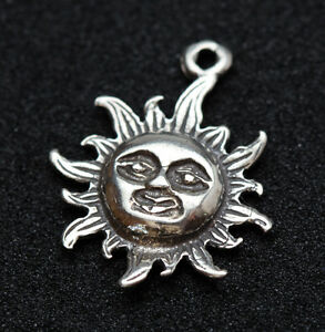 Sterling silver sun pendant charm 925 stamp celestial star scrap image is loading sterling silver sun pendant charm 925 stamp celestial mozeypictures Images