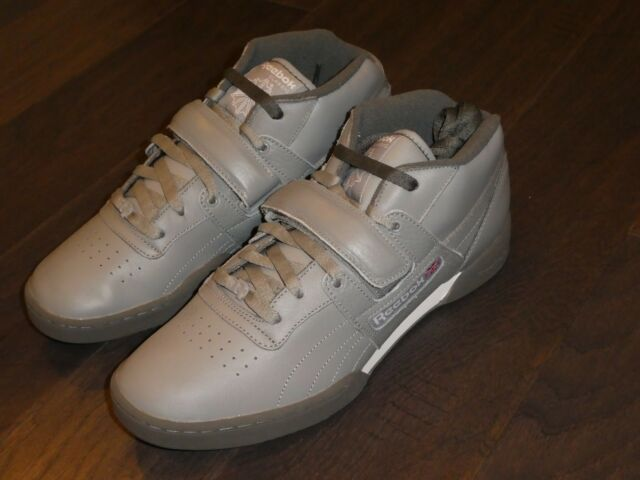 e330c14f9f71 Reebok Workout Mid Strap XE Gray Leather Athletic Trainer SNEAKERS ...