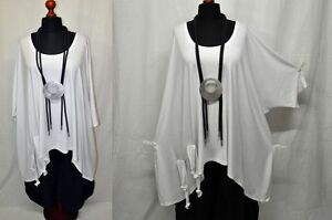 Blanc Tunique Shirt T Big Balloon Rubans Tunique de 100 Noeud Largeur cm Lagenlook HgxqwA4