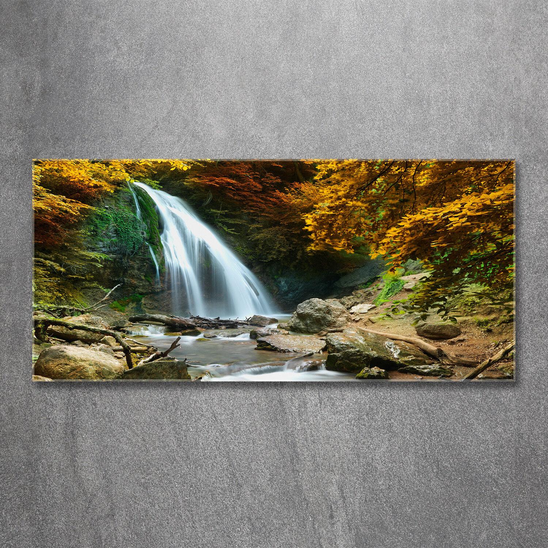 Glas-Bild Wandbilder Druck auf Glas 120x60 Deko Landschaften Wasserfall Wald