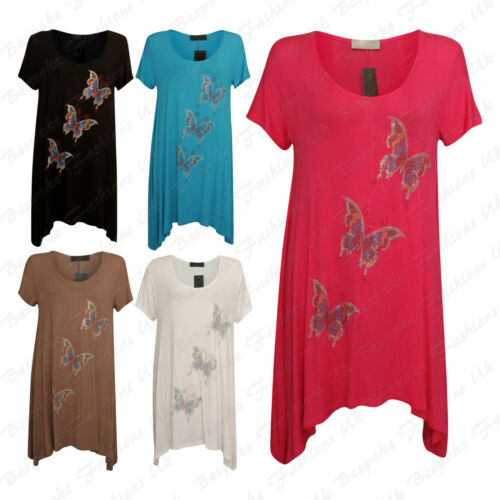 Ladies Womens Beaded 3 Butterfly Short Sleeve Fish Tail Top Dress Plus 14-28