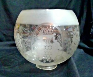 """4/"""" Fitter Gas Globe Lamp Fixture Floral Rose Rim Pattern Shade"""