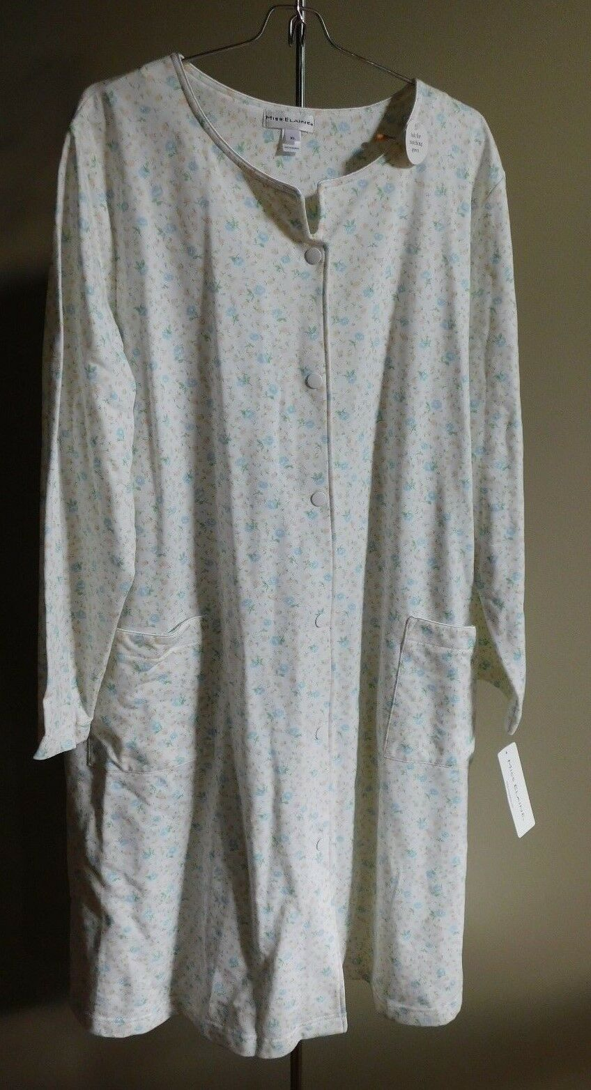 MISS ELAINE Snap Front Short Sleeve Robe Duster Womens Size XL