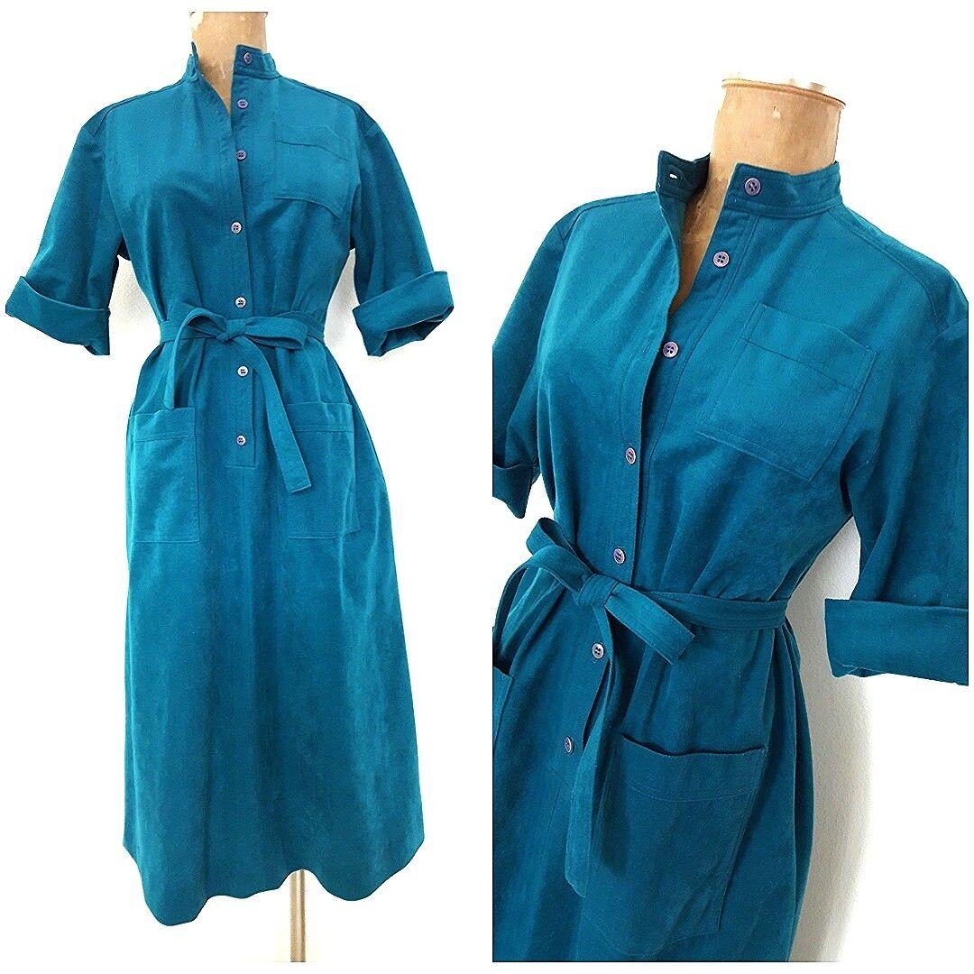 Vintage 80s Cuff Sleeve Shirt Dress Größe Medium Faux Blau Suede Belted Pinup