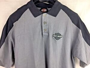 Image Is Loading Harley Davidson Gray Black Polo Rugby Shirt Med