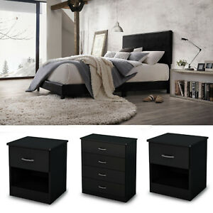 Details about Bedroom Set Furniture Queen Size 4 Piece Modern Bed 2  Nightstands Black Dresser