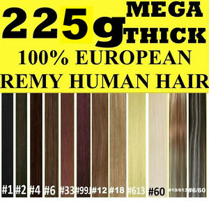 MEGA-THICK-DELUX-FULL-HEAD-CLIP-IN-REMY-HUMAN-HAIR-EXTENSIONS-Brown-Blonde-Black