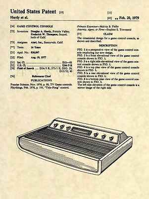 Official Atari 2600 Console US Patent Art Print Vintage Video Game PONG 323