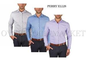 USED Men/'s Perry Ellis Portfolio Travel Luxe Long Sleeved Dress Shirt