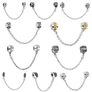 European-Safety-Chain-Bead-For-Brand-Charms-925-Silver-Sterling-Bracelets-Bangle